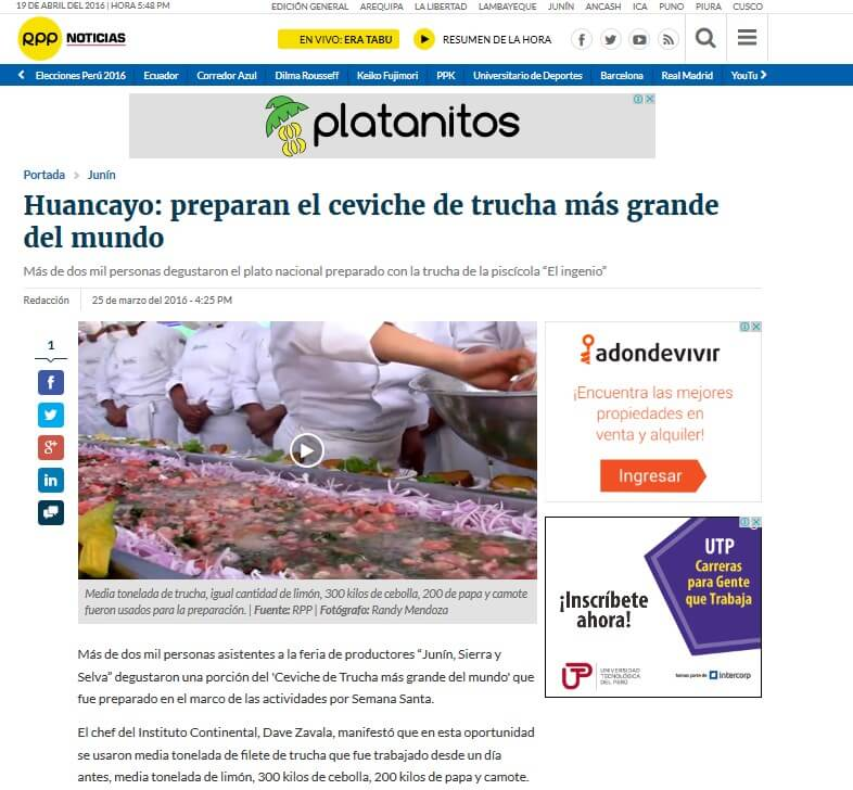 Huancayo: preparan el civeche de trucha más grande del mundo