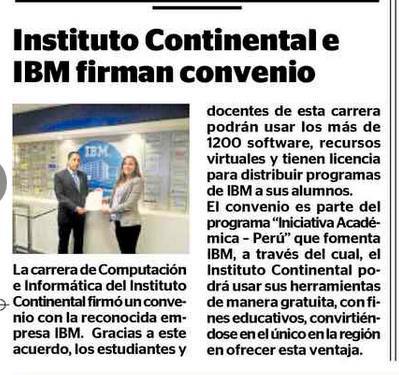 Instituto Continental e IBM firman convenio