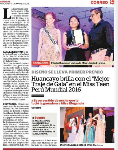 """Huancayo brilla con el """"Mejor Traje de Gala"""" en el Miss Teen Perú Mundial 2016"""