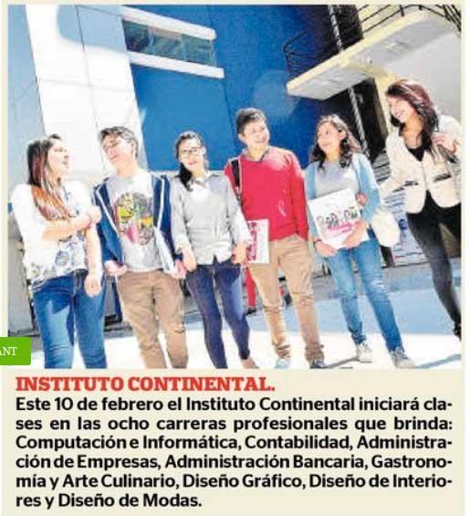 Instituto Continental iniciará clases en ocho carreras profesionales