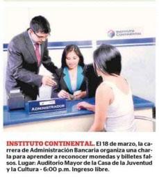 Instituto Continental. Charla para reconocer moneda y billetes falsos