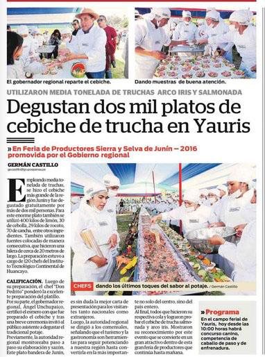 Degustan dos mil platos de cebiche de trucha en Yauris